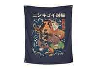 The Cat and the Koi - indoor-wall-tapestry-vertical - small view