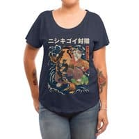 The Cat and the Koi - womens-dolman - small view