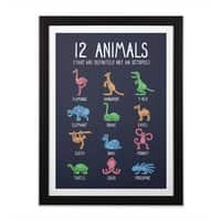 12 Animals (That Are Definitely Not An Octopus) - black-vertical-framed-print - small view