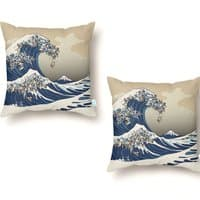 The Great Wave of Pug - throw-pillow - small view