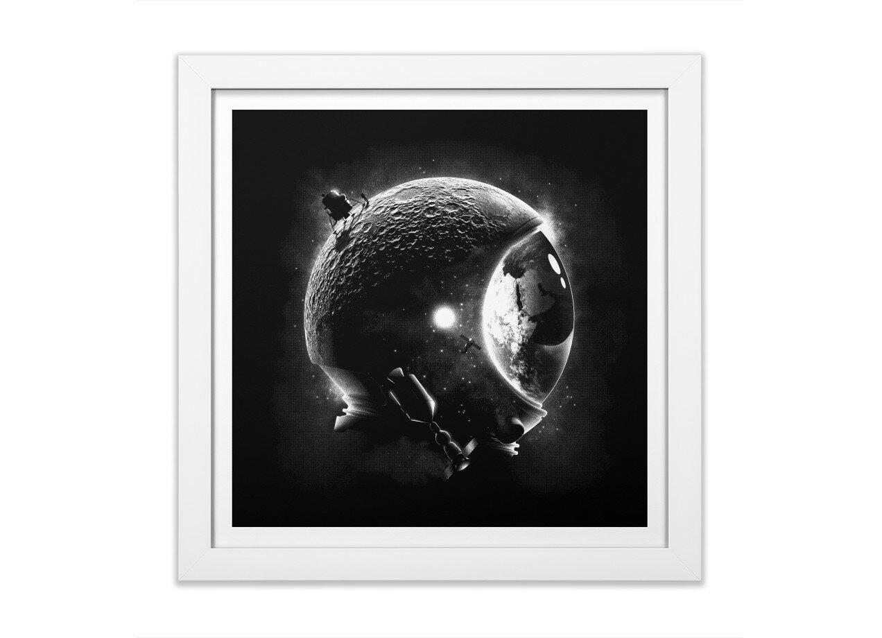 Moons Helmet By Javi Ramos White Square Framed Print Threadless