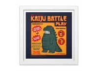 Kaiju Battle Play - white-square-framed-print - small view