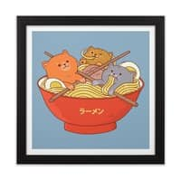 Ramen and cats  - black-square-framed-print - small view