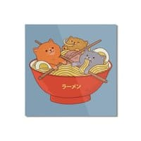 Ramen and cats  - square-mounted-aluminum-print - small view