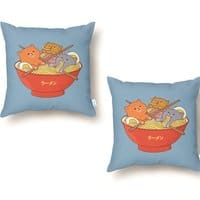 Ramen and cats  - throw-pillow - small view