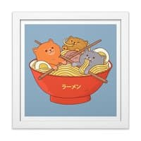 Ramen and cats  - white-square-framed-print - small view