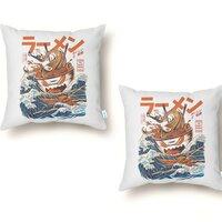 The Great Ramen off Kanagawa - throw-pillow - small view