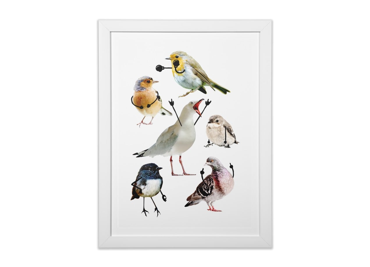 Birds with Arms by Nicholas Ginty | White Vertical Framed Print ...