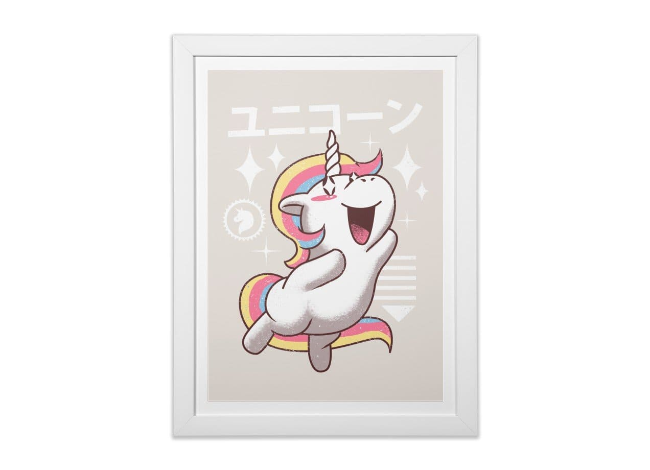 Kawaii Unicorn by Vincent Trinidad | White Vertical Framed Print ...