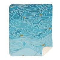 golden paper ships - blanket - small view
