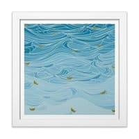 golden paper ships - white-square-framed-print - small view