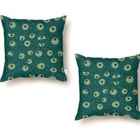 Green Googly Eyes - throw-pillow - small view