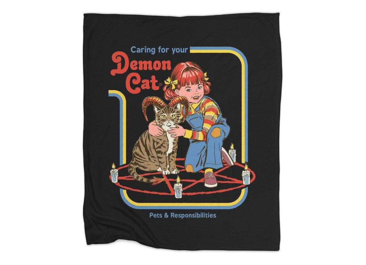 15a9b966 Caring for Your Demon Cat by Steven Rhodes | Blanket Threadless