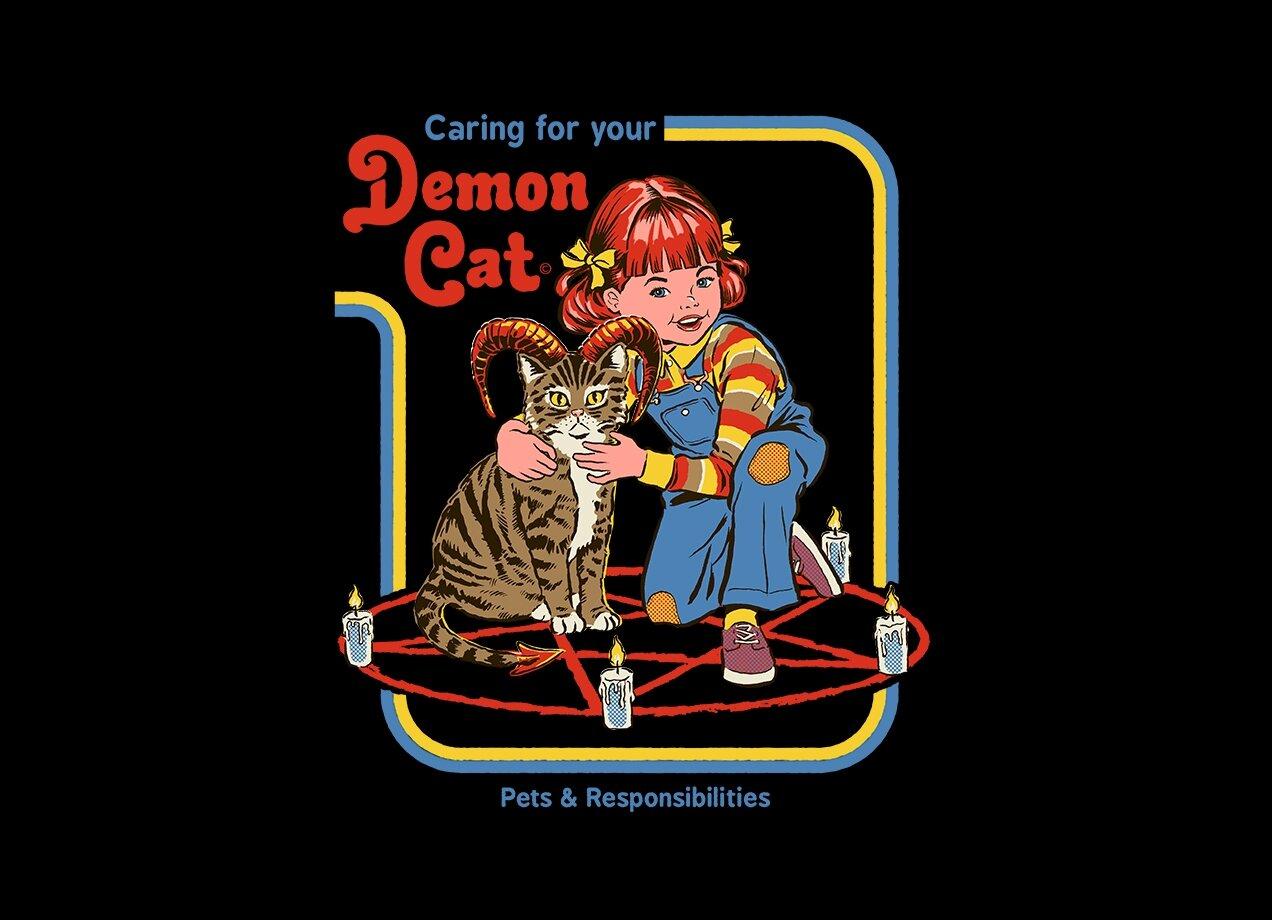 814174c0 Caring for Your Demon Cat by Steven Rhodes | Men's T-Shirt Threadless