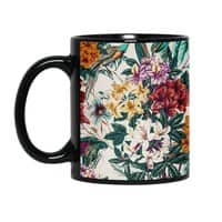 Floral and exotic birds - black-mug - small view