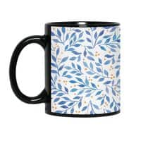 Berry Branches Pattern - Blue Palette - black-mug - small view