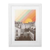 Rainbow Sky Above Paris - white-vertical-framed-print - small view