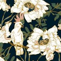 Birds in the dark flowering - small view