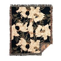 Birds in the dark flowering - woven-blanket - small view