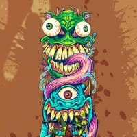 Monster Faces Skateboard Design - small view
