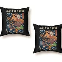 The Cat and the Koi (Black Variant) - throw-pillow - small view