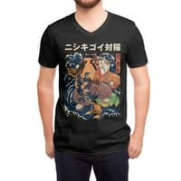 The Cat and the Koi (Black Variant) - vneck - small view