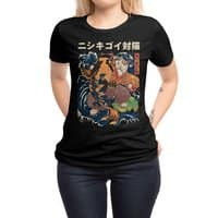 The Cat and the Koi (Black Variant) - womens-regular-tee - small view