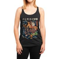 The Cat and the Koi (Black Variant) - womens-triblend-racerback-tank - small view