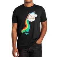 Fat Unicorn on Rainbow Jetpack (Black Variant) - mens-extra-soft-tee - small view