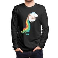 Fat Unicorn on Rainbow Jetpack (Black Variant) - mens-long-sleeve-tee - small view
