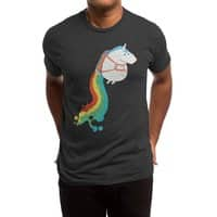 Fat Unicorn on Rainbow Jetpack (Black Variant) - mens-triblend-tee - small view