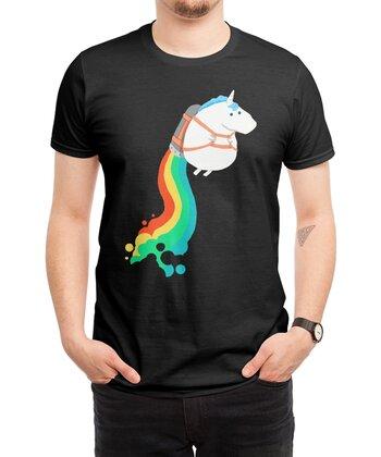 Fat Unicorn on Rainbow Jetpack (Black Variant)