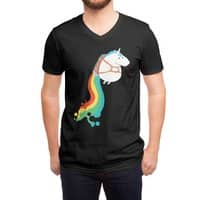 Fat Unicorn on Rainbow Jetpack (Black Variant) - vneck - small view
