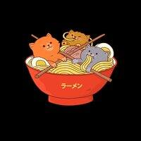 Ramen and cats (Black Variant) - small view