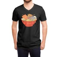 Ramen and cats (Black Variant) - vneck - small view