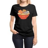 Ramen and cats (Black Variant) - womens-regular-tee - small view