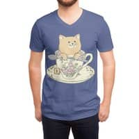 Tea cat time - vneck - small view