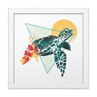 Geometric Turtle - white-square-framed-print - small view