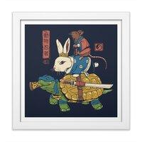 Kame, Usagi and Ratto Ninjas - white-square-framed-print - small view