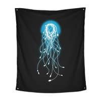 Electric Jellyfish (Black Variant) - indoor-wall-tapestry-vertical - small view