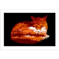 The Girl in the Red Forest (Black Variant) - horizontal-print - small view